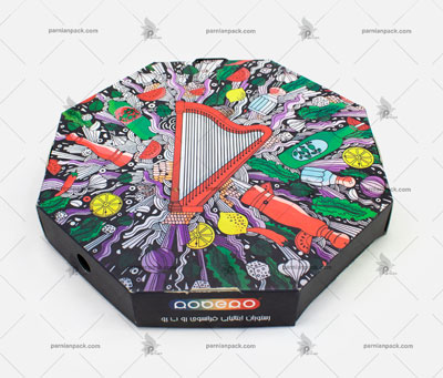 جعبه پیتزا هشت ضلعی چاپ رنگی