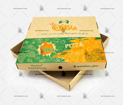 جعبه پیتزا کرافت دو تکه سبز