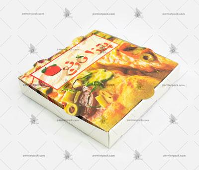 جعبه پیتزا سفید چاپ افست رنگی