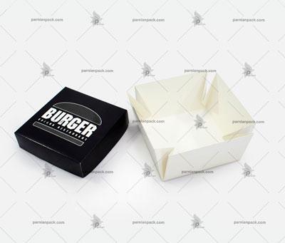 جعبه برگر چاپ اختصاصی مشکی مربعی