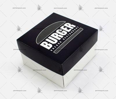 جعبه برگر چاپ اختصاصی مشکی دو تکه