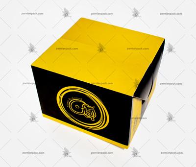 جعبه همبرگر چاپ طلایی مشکی درب قفلی