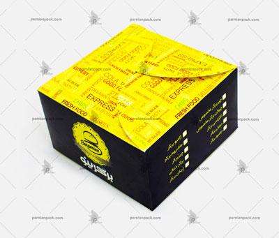 جعبه همبرگر چاپ اختصاصی زرد مشکی