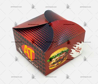 جعبه همبرگر زرشکی چاپ اختصاصی