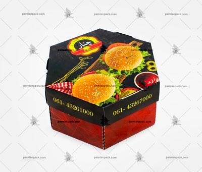 جعبه همبرگر شش ضلعی چاپ اختصاصی