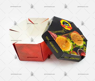 جعبه همبرگر شش ضلعی چاپ اختصاصی باز