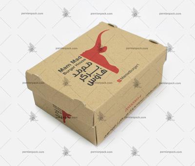 جعبه برگر چاپ اختصاصی کرافت سفره ای دو رنگ