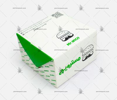 جعبه همبرگر چاپ سبز درب قفلی