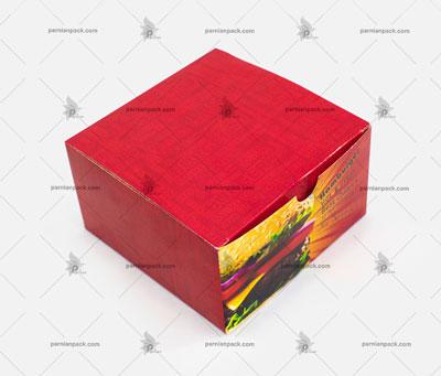 جعبه برگر درب ازز بالا چاپ قرمز