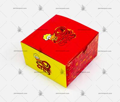 جعبه برگر زرد و قرمز