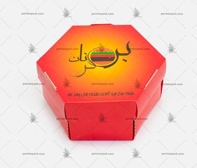 جعبه همبرگر شش ضلعی چاپ اختصاصی قرمز