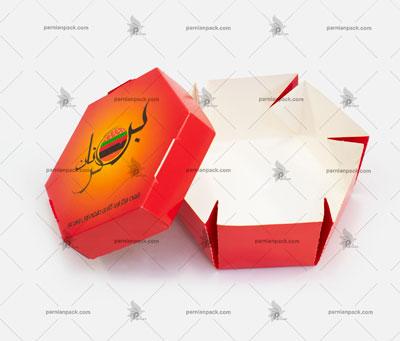 جعبه همبرگر شش ضلعی چاپ اختصاصی قرمز باز