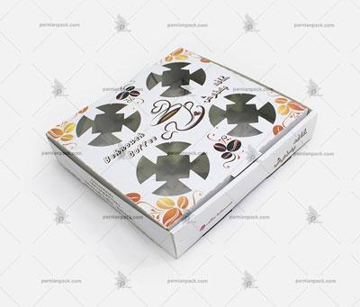 جالیوانی مقوایی جعبه ای 4 تایی سفید چاپ اختصاصی