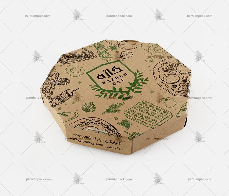 جعبه پیتزا هشت ضلعی کرافت با چاپ دو رنگ
