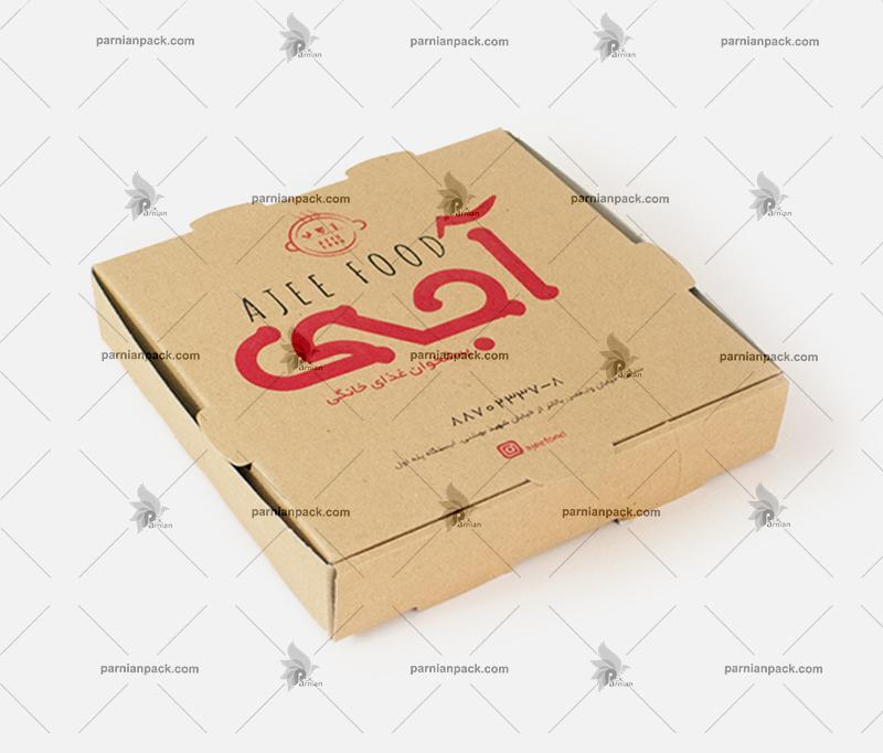 جعبه پیتزا کرافت دو رنگ