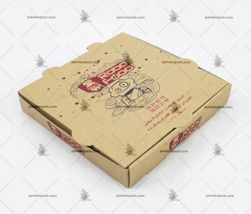 جعبه پیتزا چاپ دو رنگ قرمز و مشکی